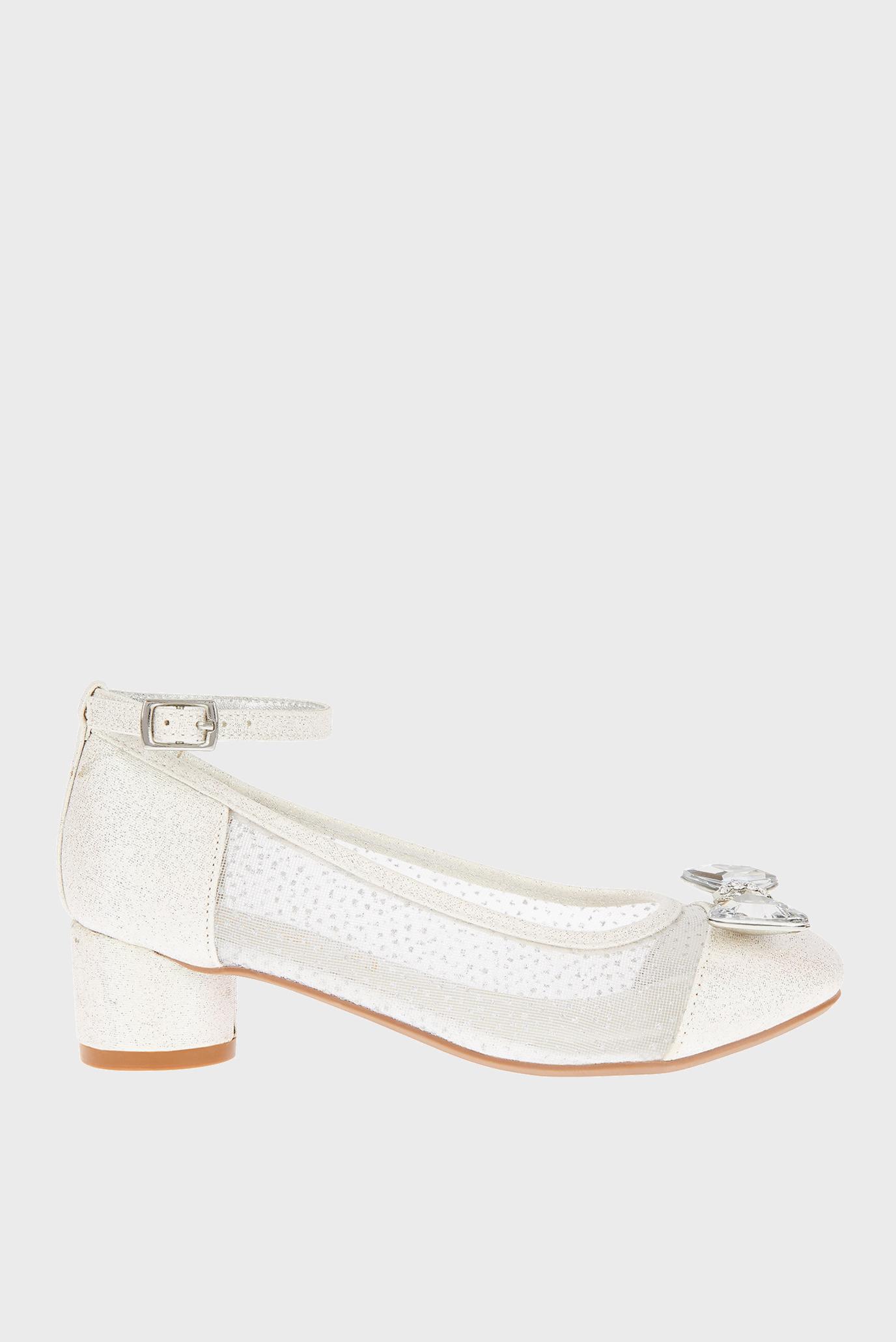 Детские белые туфли DIAMANTE BOW SILVER 1
