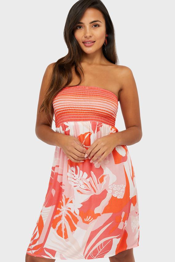 Женское коралловое пляжное платье