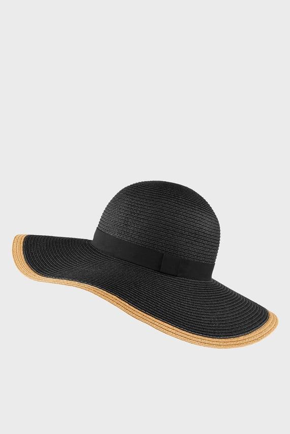 Женская черная шляпа CONTRAST EDGE PLAIN