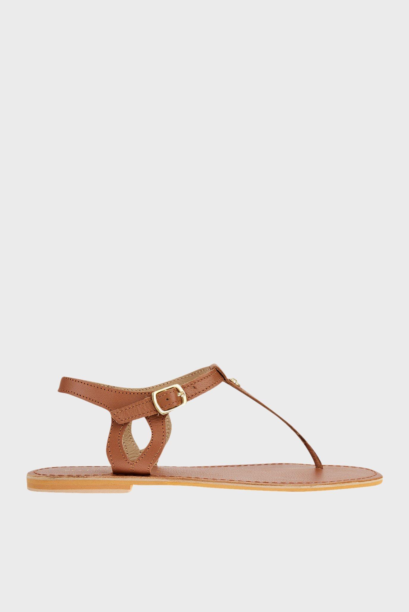Жіночі шкіряні коричневі сандалі CHARM DETAIL 1