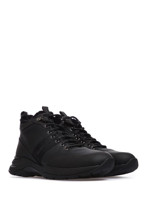 Мужские черные кожаные ботинки с мехом