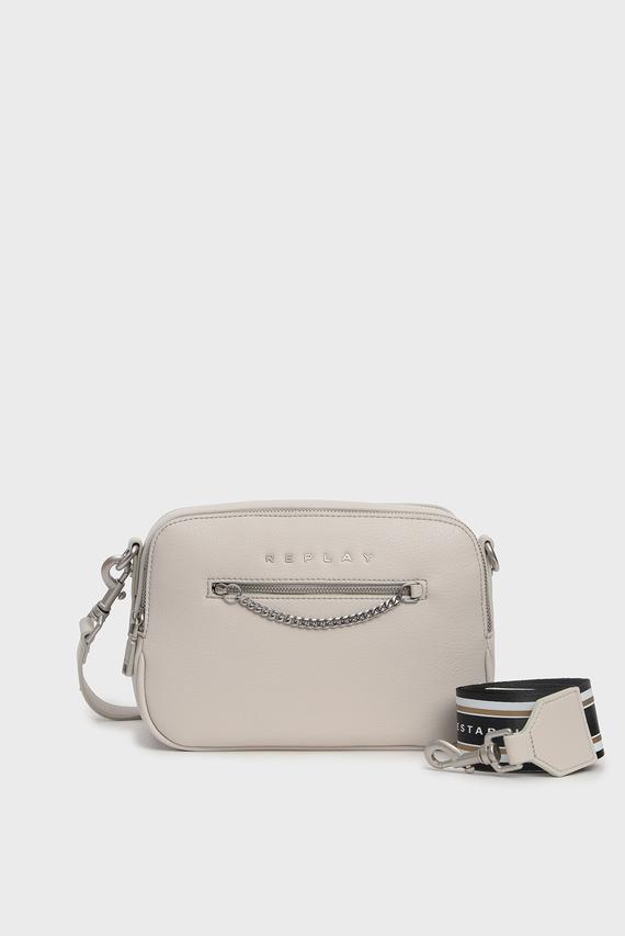 Женская бежевая сумка через плечо