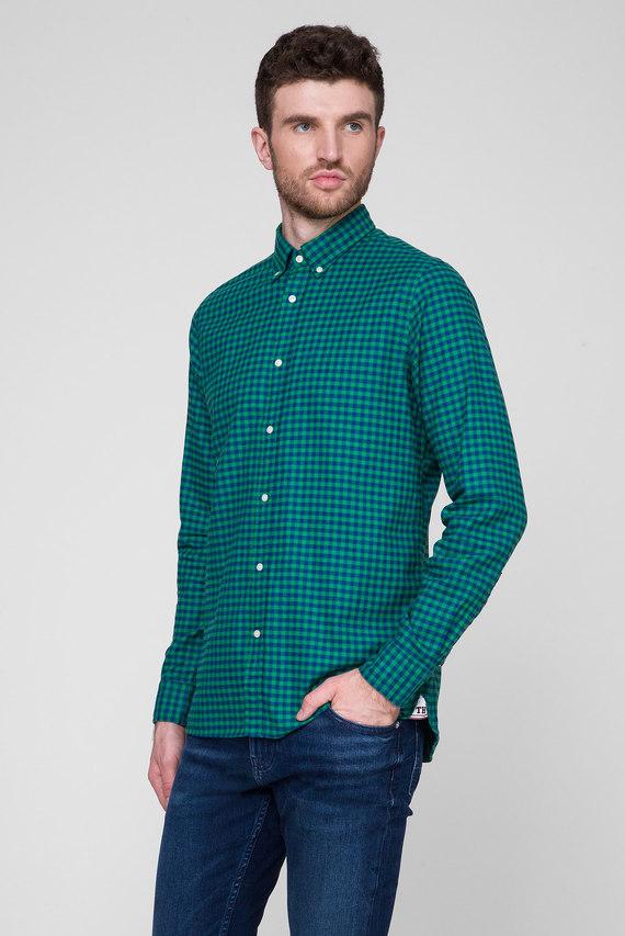 Мужская зеленая рубашка в клетку SLIM GLOBAL STRIPE GINGHAM