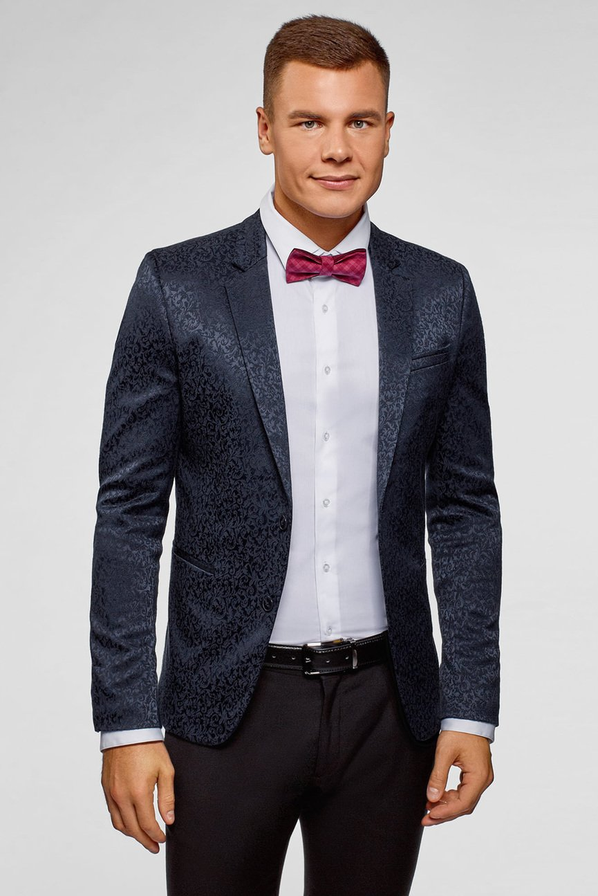 Мужской темно-синий пиджак с узором