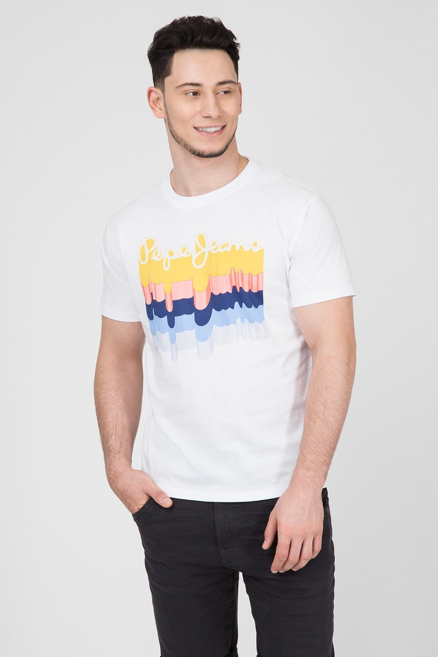 Мужская белая футболка с принтом LIAM