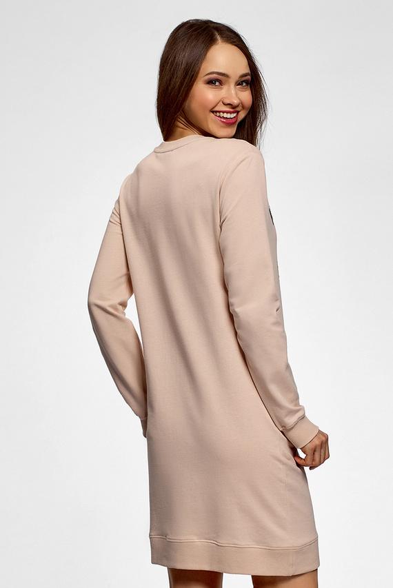 Женское бежевое платье