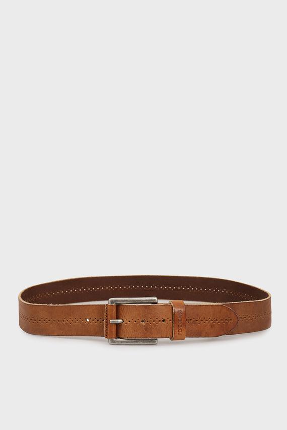 Мужской коричневый кожаный ремень HADSON