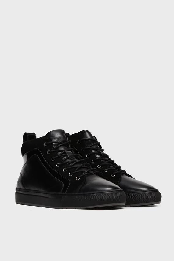 Мужские черные кожаные хайтопы  Soho