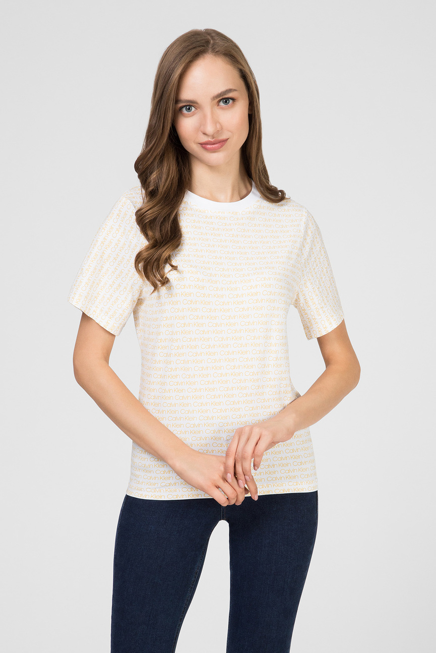 Женская белая футболка ALLOVER LOGO 906