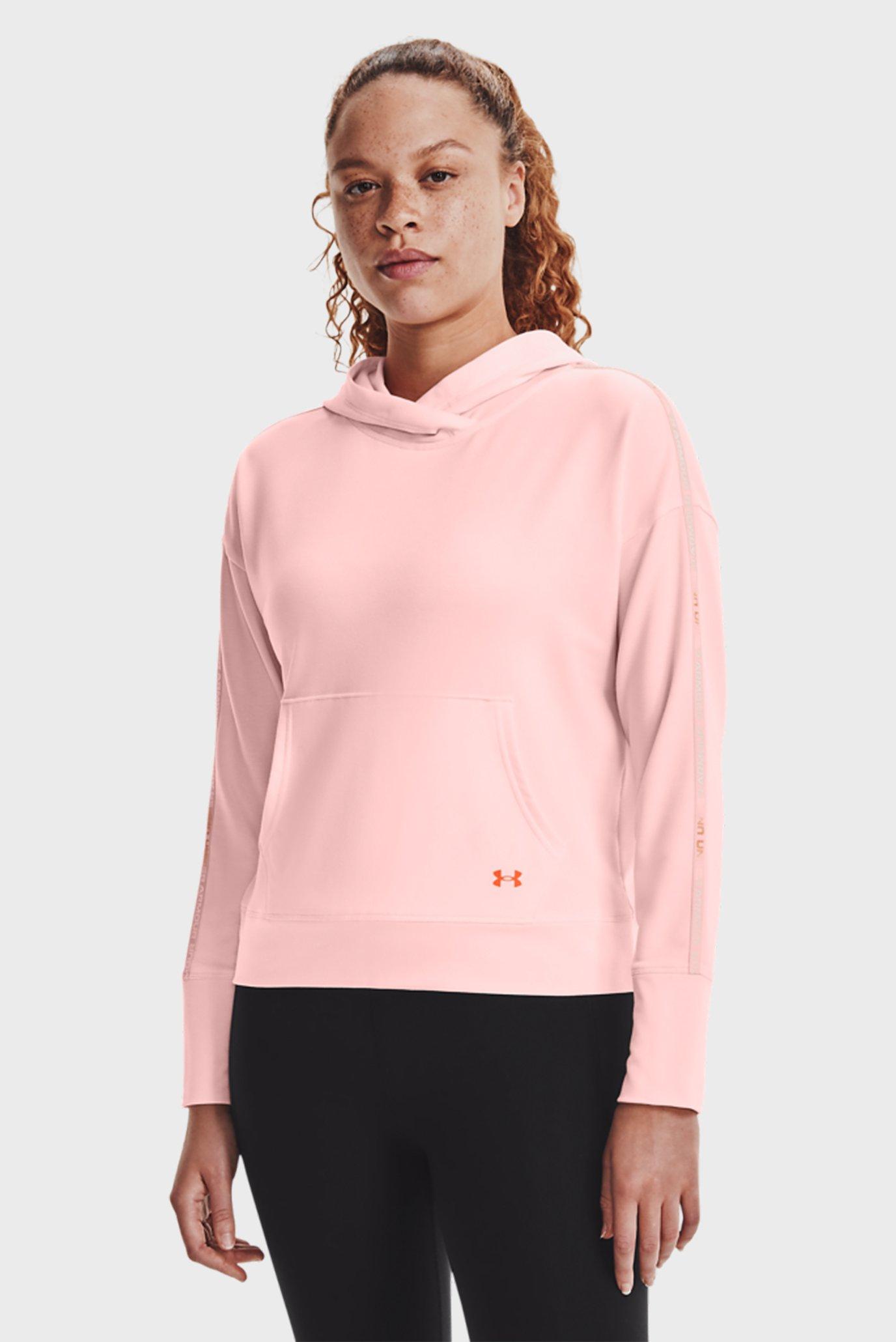 Женское розовое худи UA Rival Terry Taped Hoodie-PNK 1