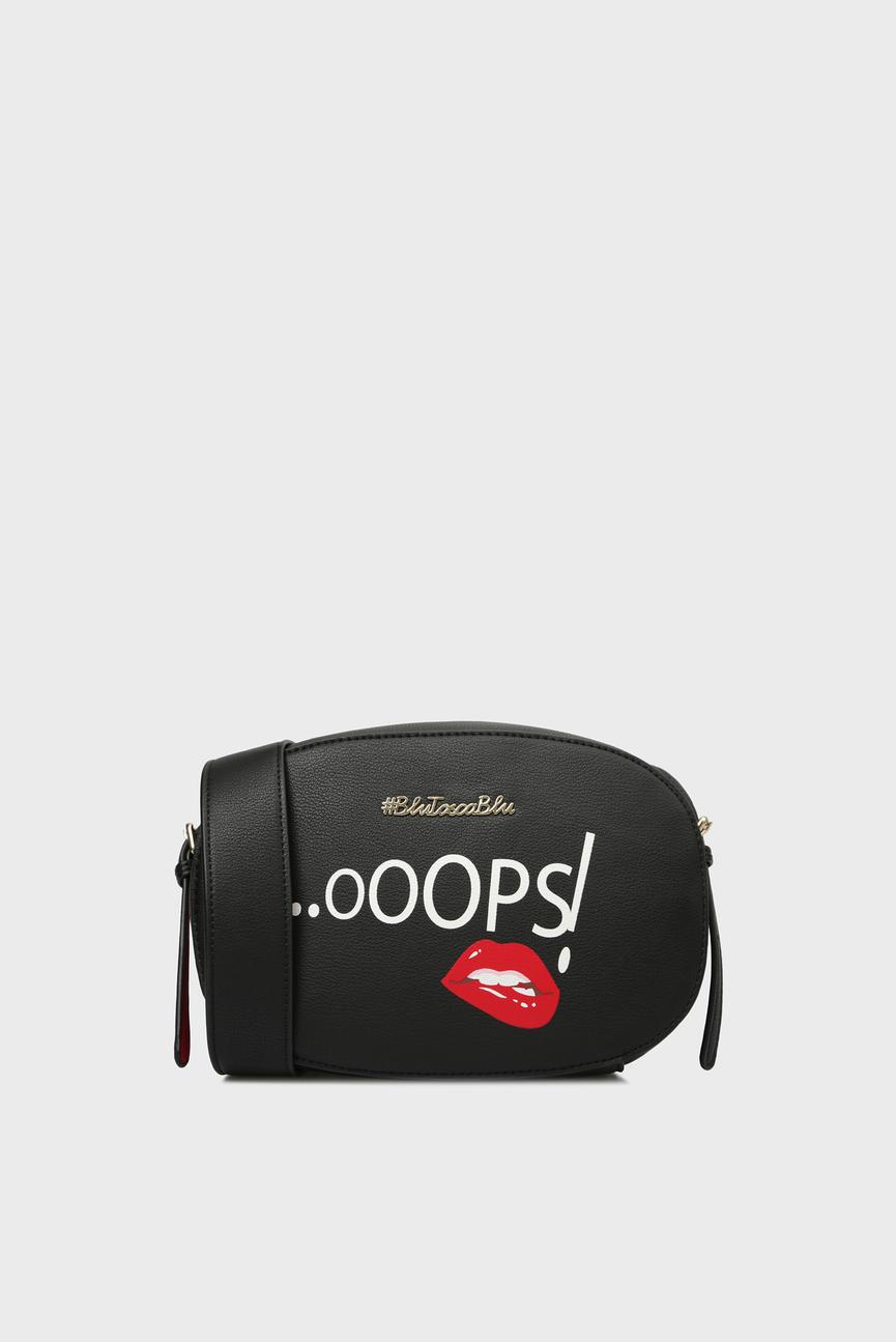 Женская черная сумка через плечо OOOPS