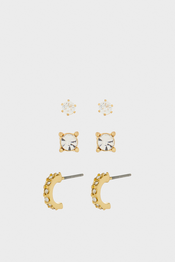Женские золотистые серьги PAVE MINI HOOP A (3 пары)
