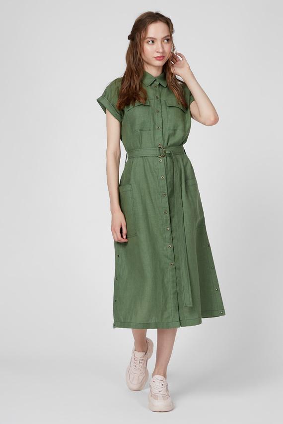 Женское зеленое льняное платье WWD 005