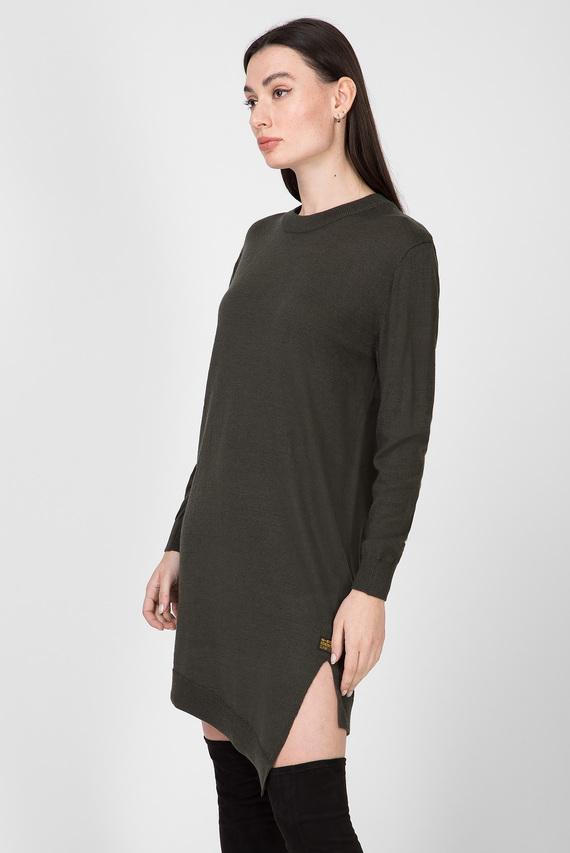 Женское зеленое шерстяное платье Asym