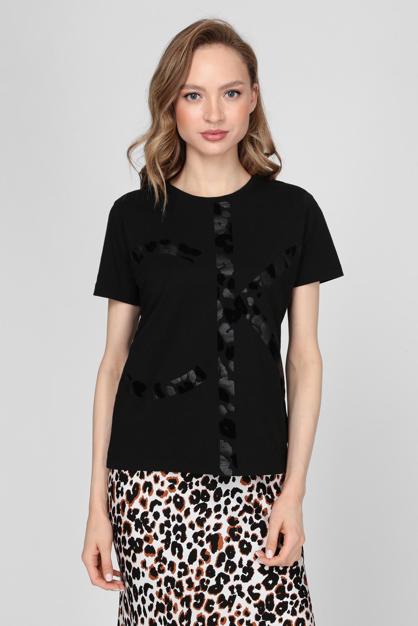 Жіноча чорна футболка REGULAR FIT SS CK PRINT TEE 1