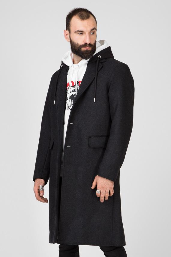 Мужское темно-серое шерстяное пальто W-DEXTY