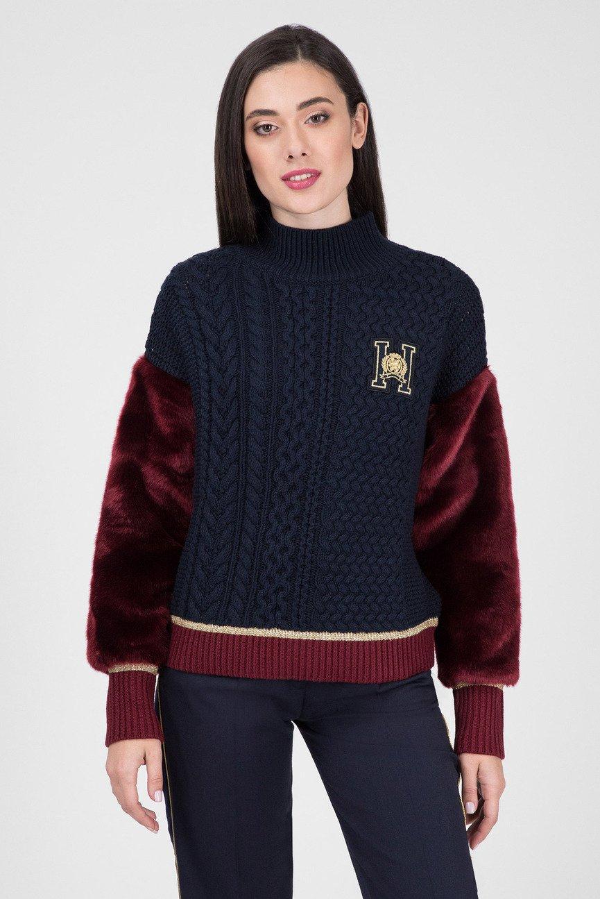 Женский темно-синий свитер ICON TIAH CROPPED MOCK-NK SWTR