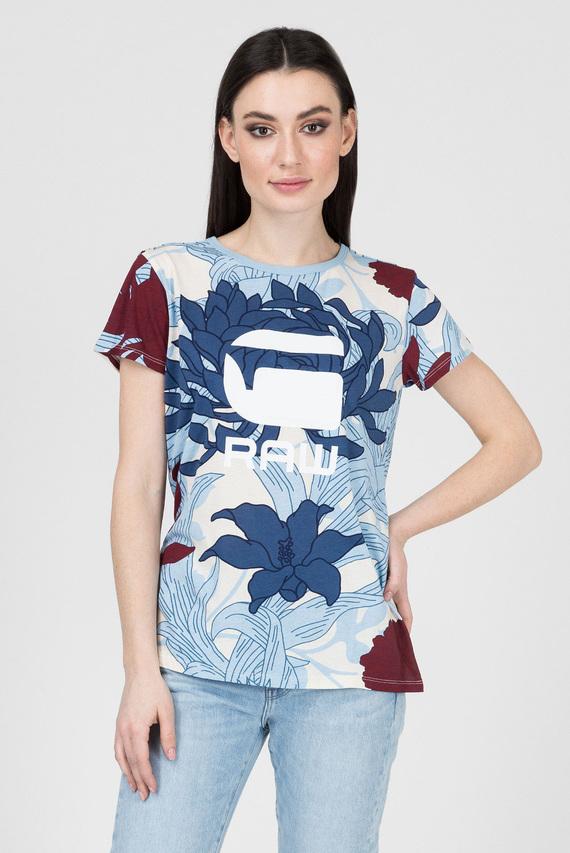 Женская голубая футболка с принтом