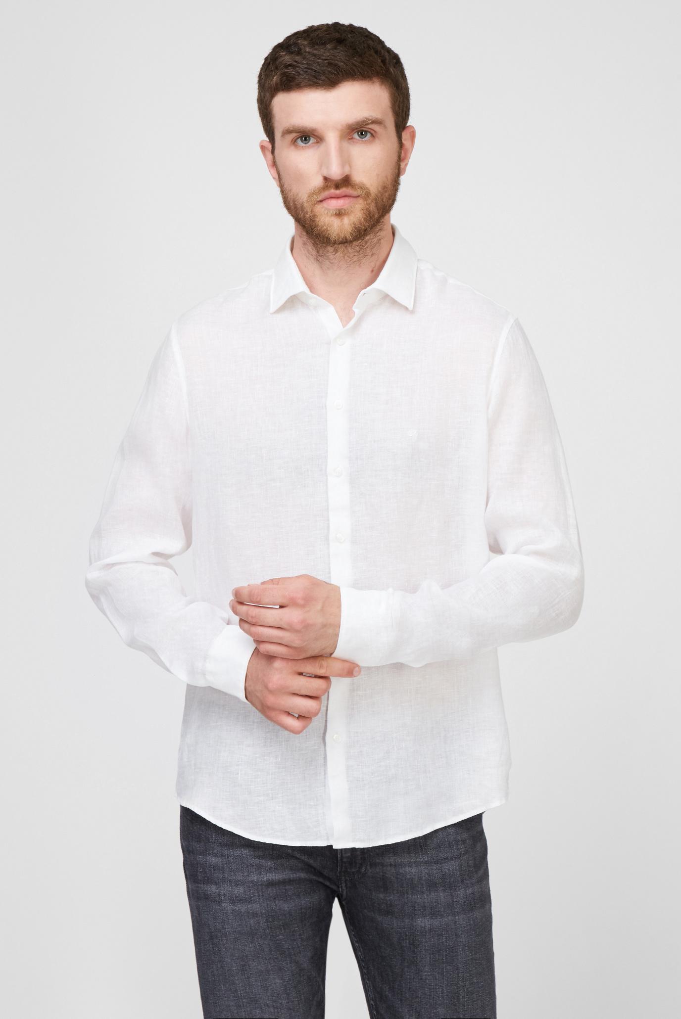 Мужская белая льняная рубашка LINEN SOLID 1