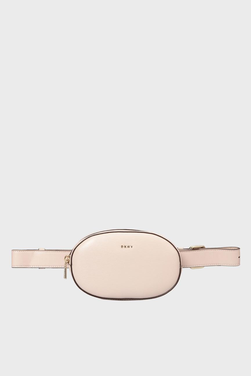 Женская розовая кожаная поясная сумка PAIGE-BELT