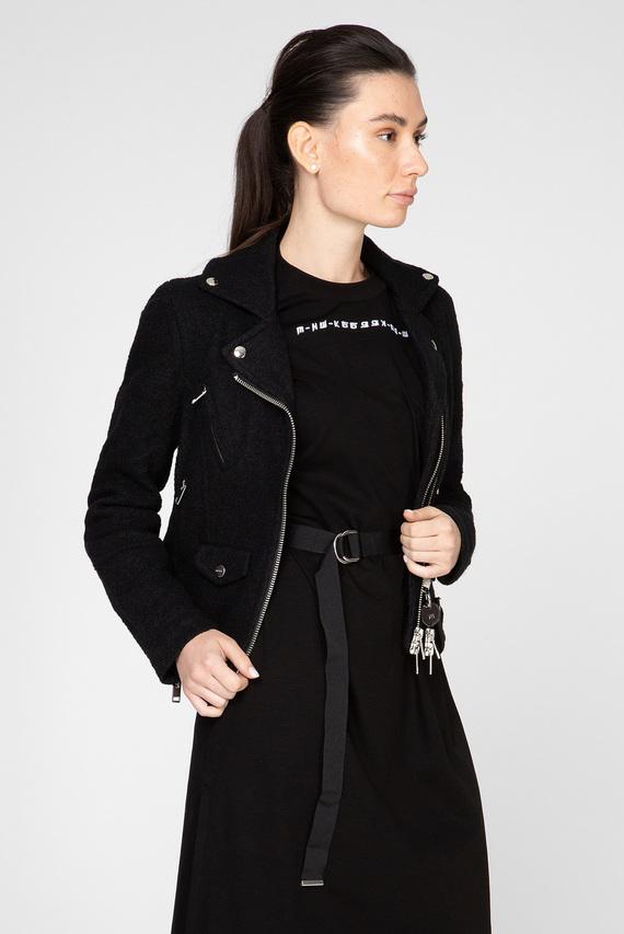 Женская черная шерстяная косуха G-SINYA