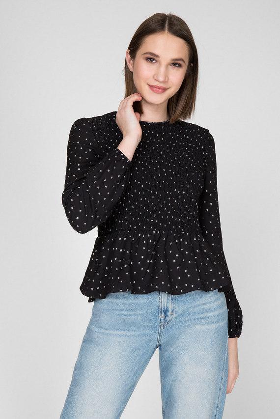 Женская черная блуза с принтом TJW SMOCK DETAIL