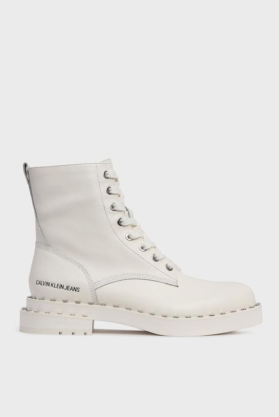 Женские белые кожаные ботинки NANNIE