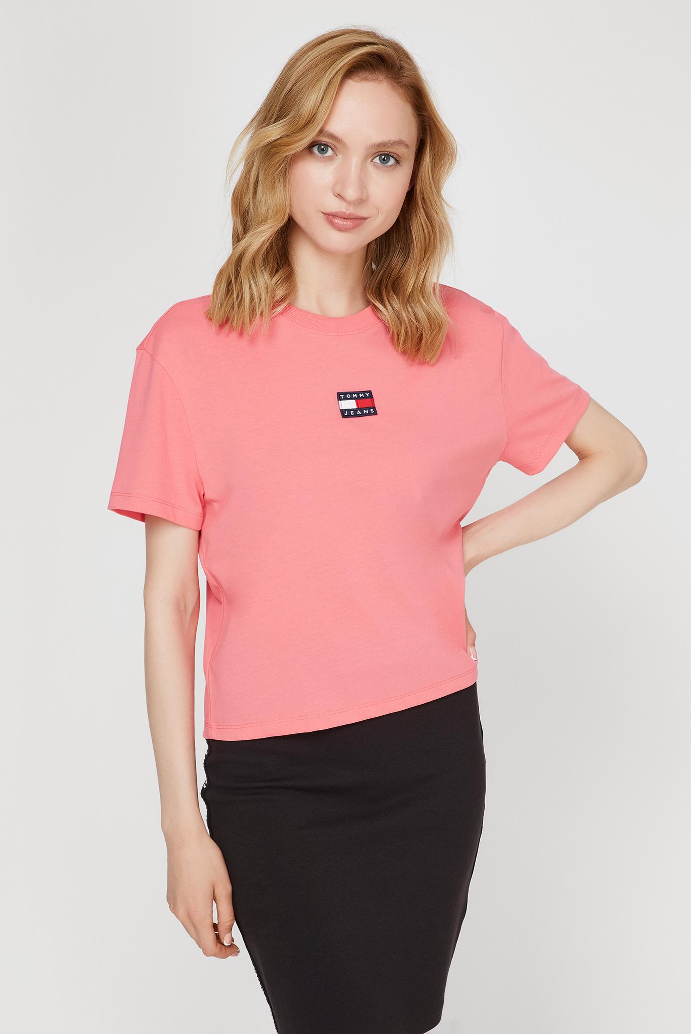 Женская розовая футболка TJW TOMMY CENTER BADGE 1