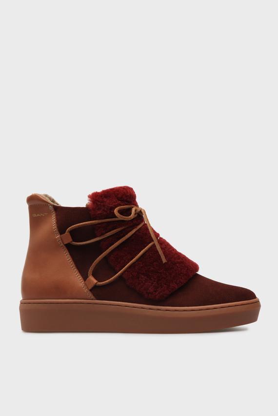 Женские рыжие замшевые ботинки