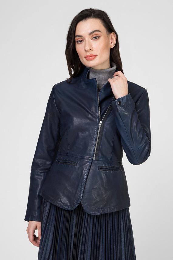 Женская темно-синяя кожаная куртка Rimu