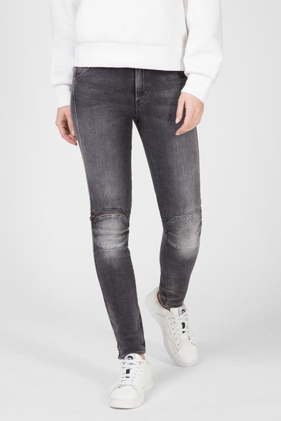 Женские серые джинсы 5622 Knee Zip High Skinny Wmn