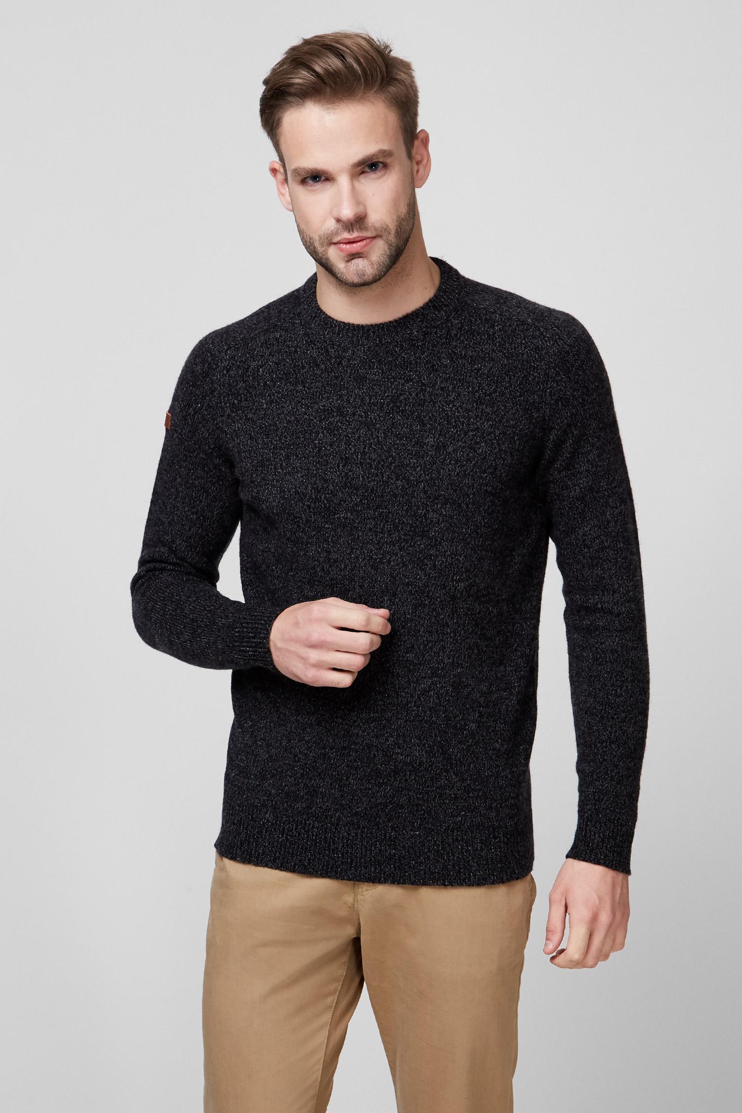 Мужской темно-серый шерстяной свитер 1