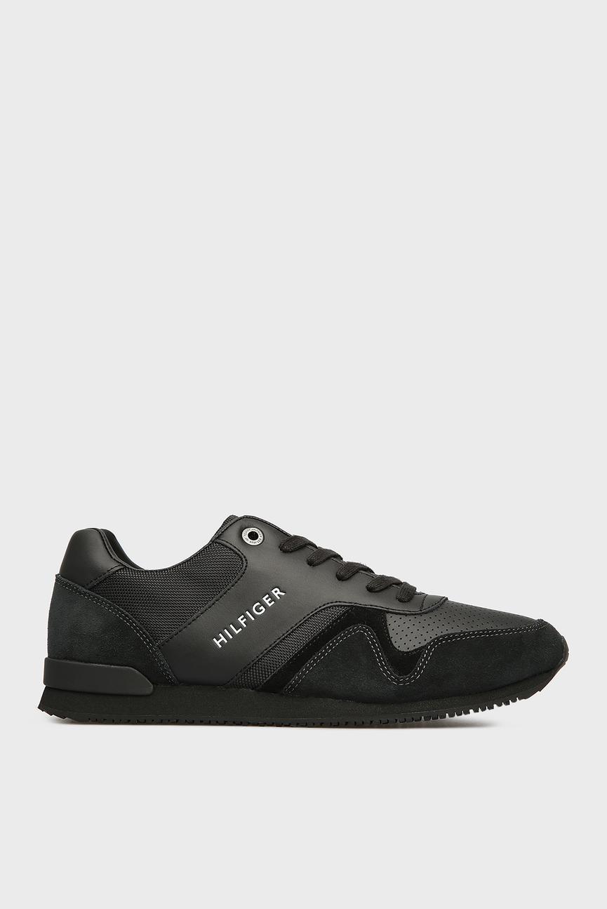 Мужские черные кожаные кроссовки ICONIC LEATHER TEXTILE RUNNER