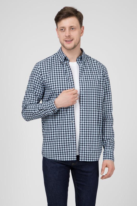 Мужская синяя рубашка в клетку Regular Fit