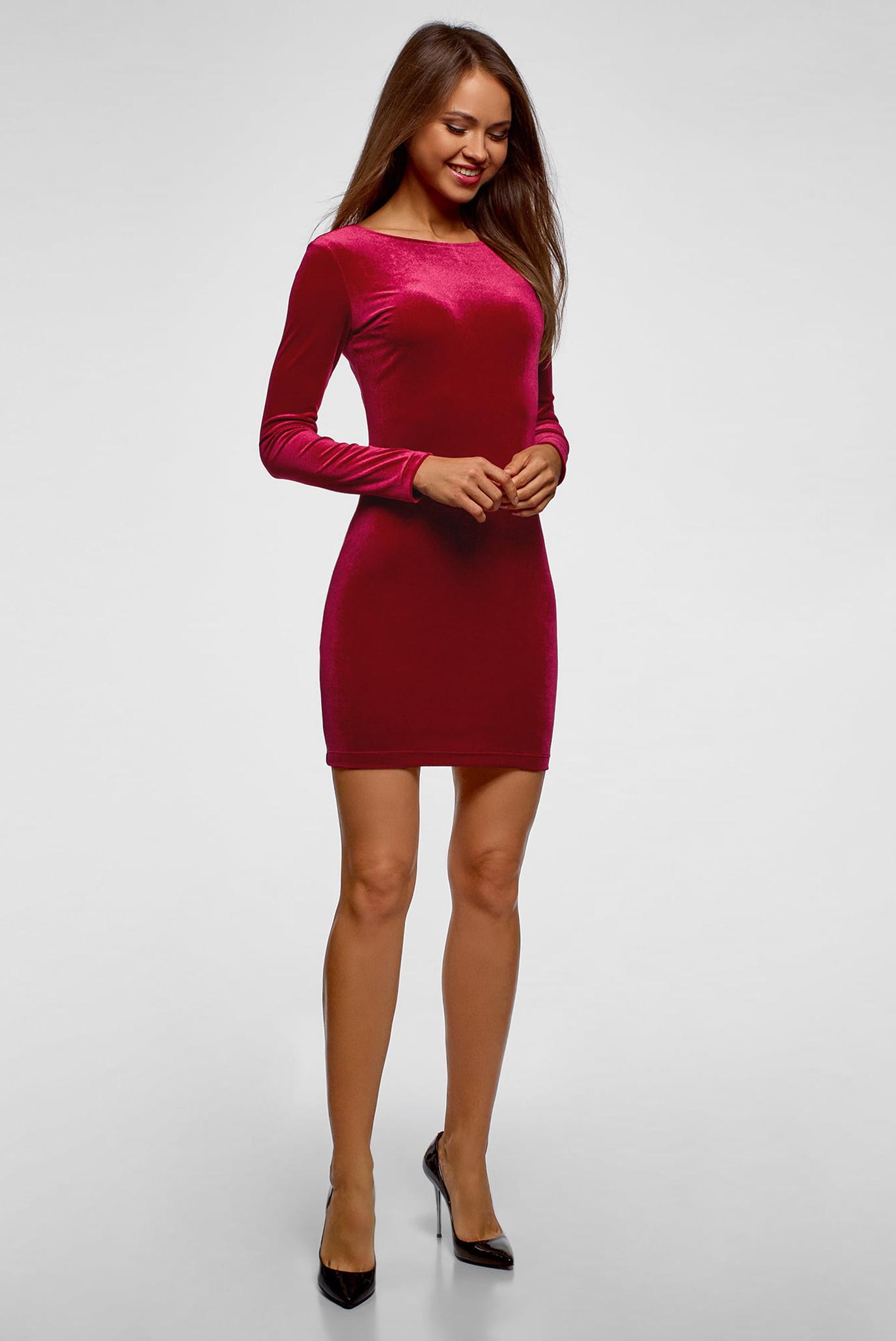 Женское розовое бархатное платье Oodji