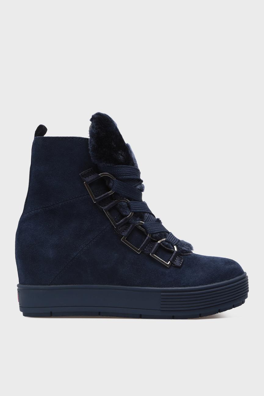 Женские синие замшевые ботинки