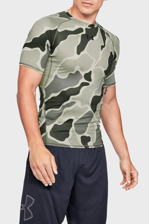 Мужская зеленая спортивная футболка с принтом UA HG ARMOUR SS NOV