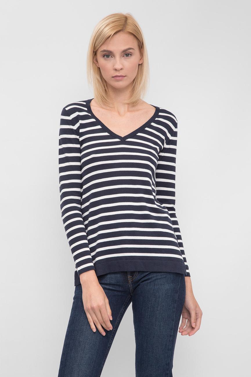 Женский темно-синий пуловер в полоску