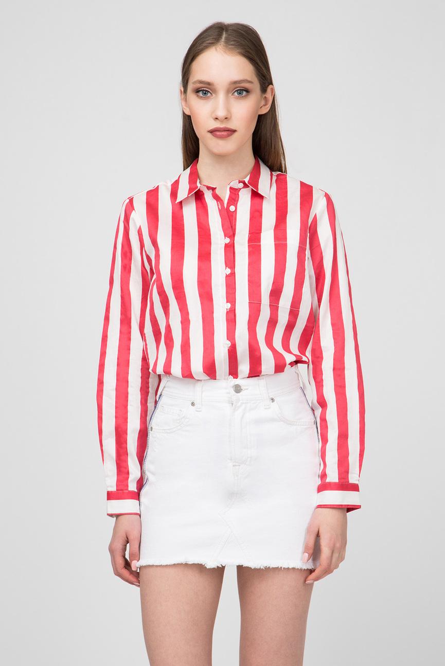 Женская красная блуза в полоску ELENA