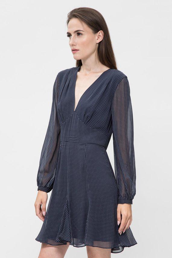 Женское темно-синее платье с принтом