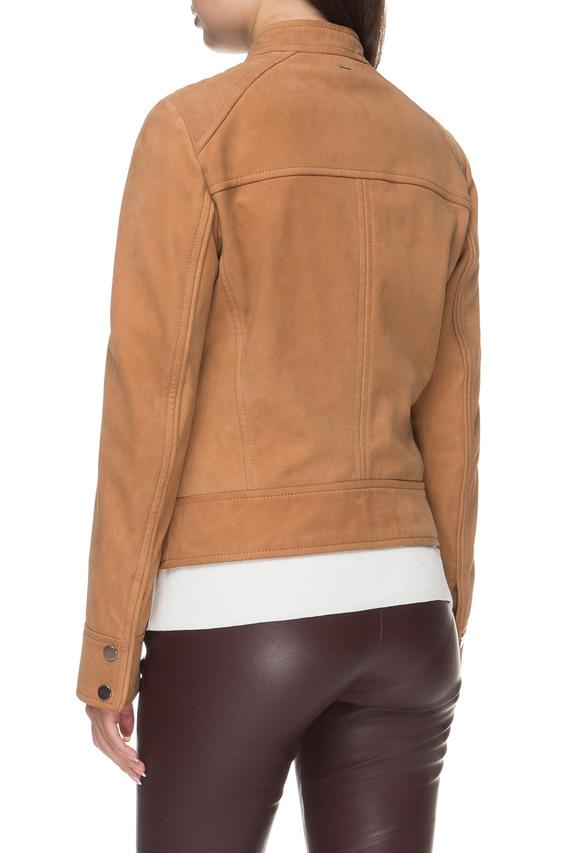 Женская рыжая кожаная куртка