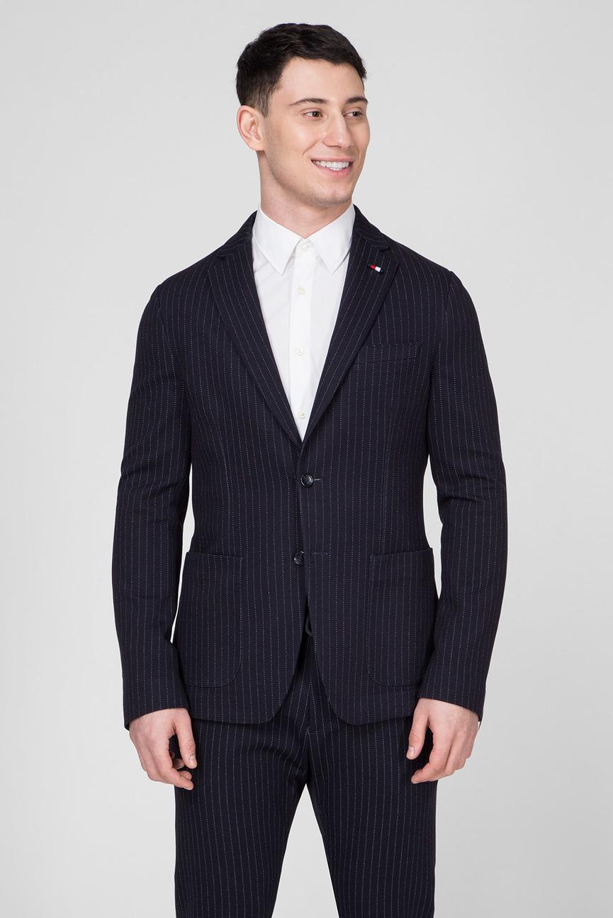 Мужской темно-синий пиджак JERSEY STRIPE SLIM FIT
