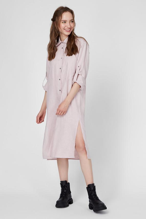 Женское розовое льняное платье WWD 003