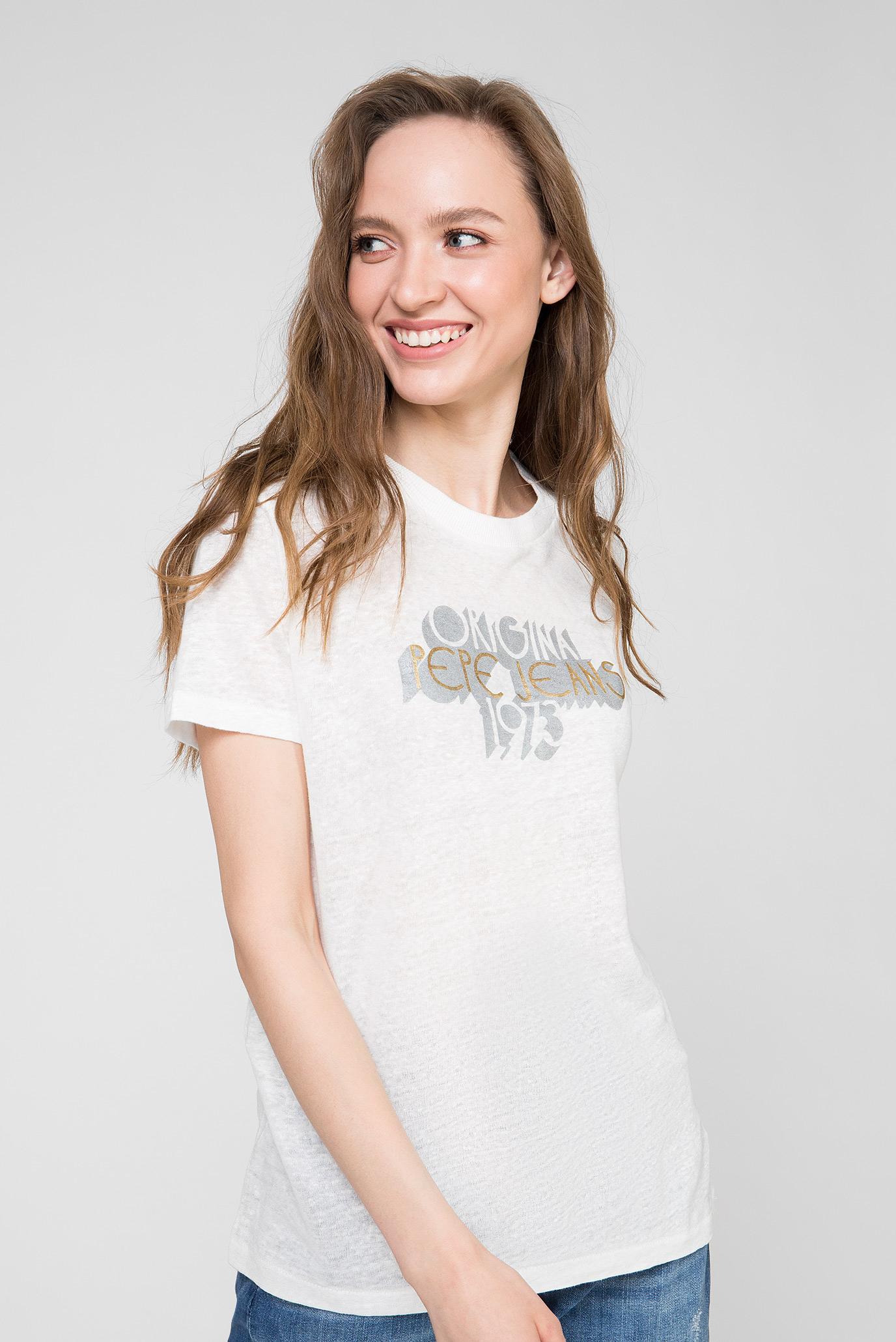 Женская белая льняная футболка BONNIE Pepe Jeans
