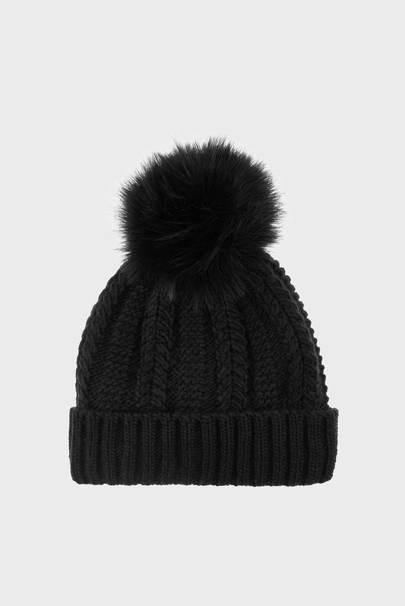 Женская черная шапка THINS LUXE POM BEANIE HAT