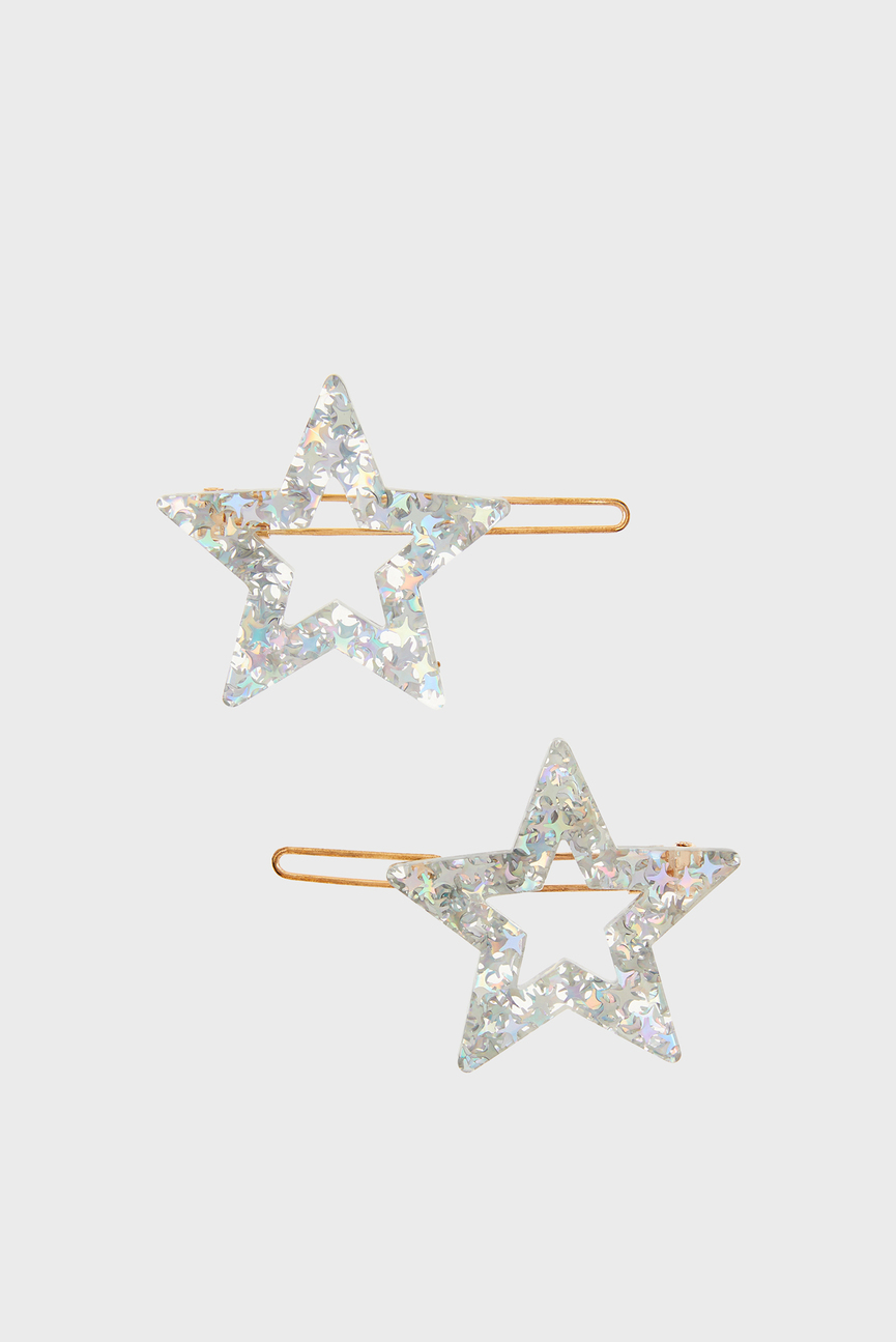 Детские серебристые заколки STAR RESIN SLIDES (2 шт)