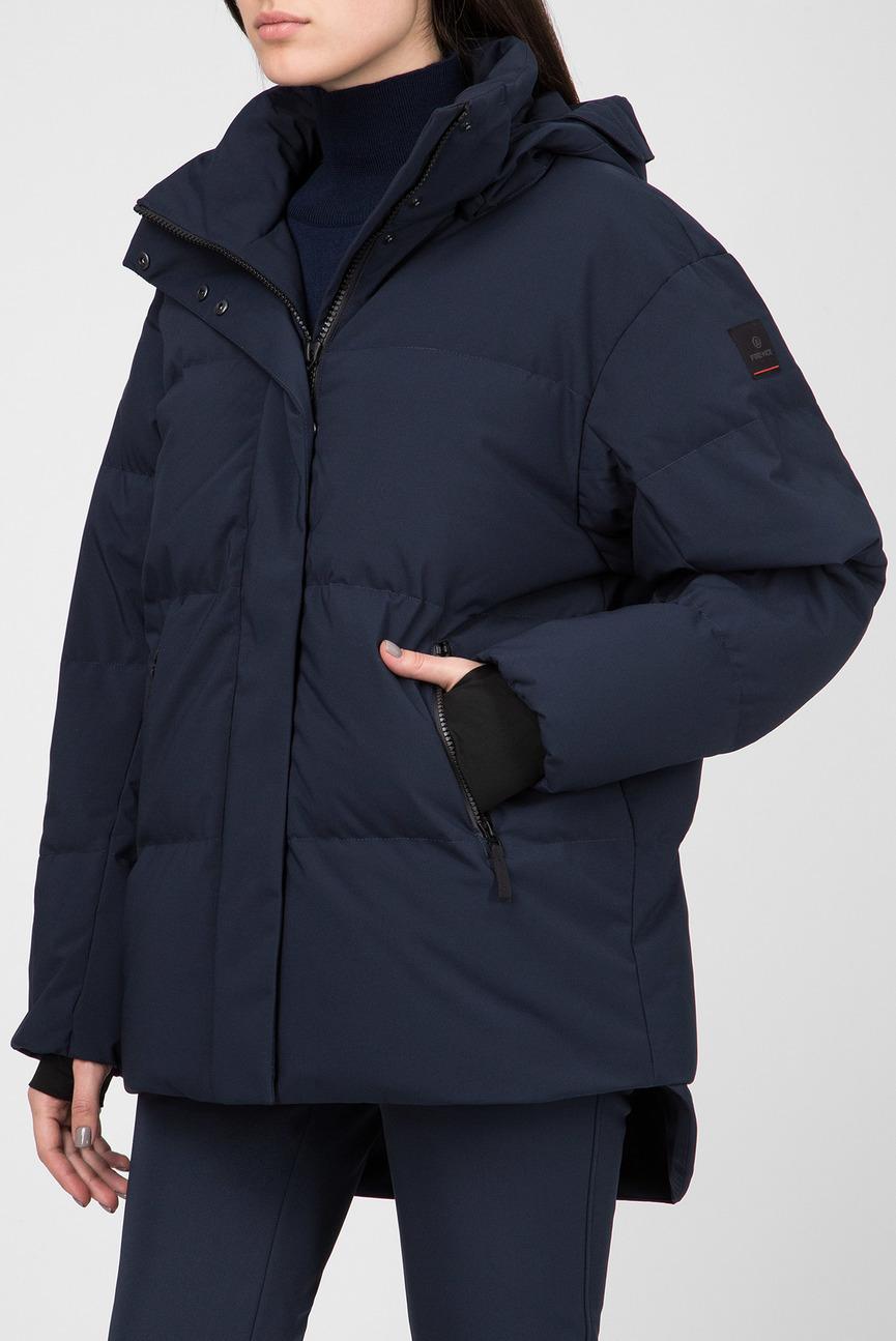 Женская темно-синяя пуховая лыжная куртка