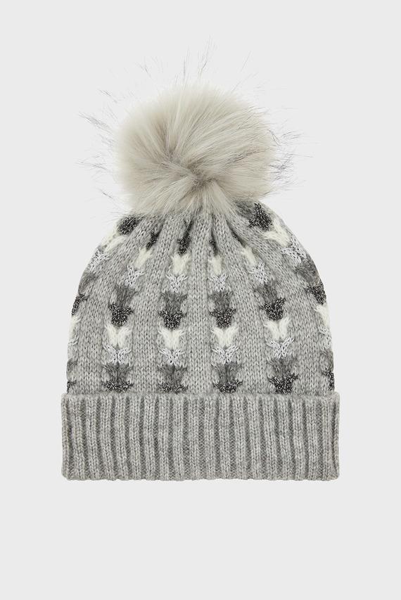 Женская серая шапка ELSA SPARKLE FF POM
