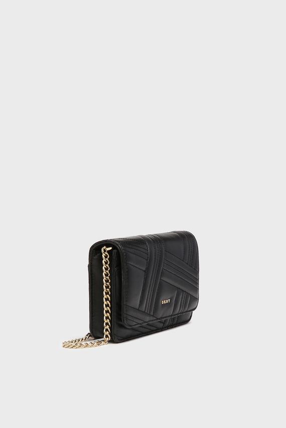 Женская черная кожаная сумка через плечо ALLEN
