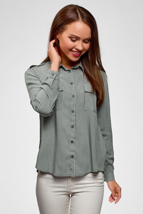 Женская зеленая рубашка